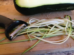 "And then you end up with beautiful ""zucchini spaghetti"".  Lovely."