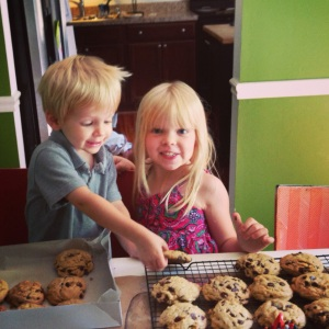 Kids and cookies.