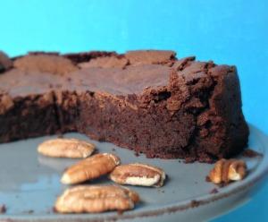 chocolate pecan cake sideview