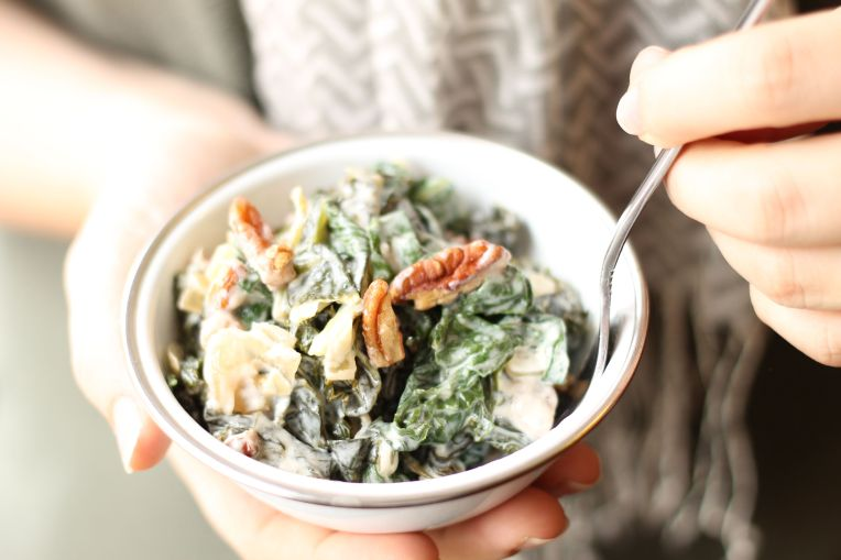 creamy mixed greens with pecans / forkful of awesome