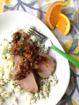 Pork Tenderloin with Caramelized Onions and Zingy Rice