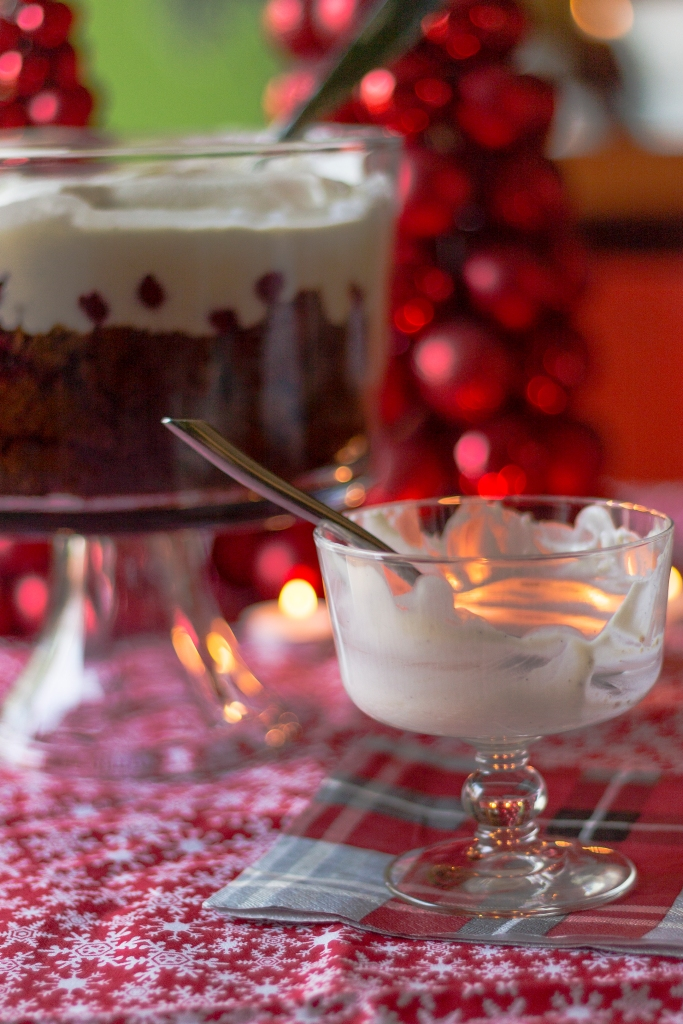 Gingerbread and Cherry Trifle / Forkful of Awesome